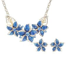 2Tlg. Schmuck Set Collier-Ohrringe vergoldet/Blau NEU