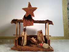 Folk Art Handmade Wood & Crepe Paper 10'' Nativity Christmas Set Scene