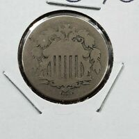 1872 5c Shield Nickel Coin CHOICE AG ABOUT GOOD SEMI KEY DATE