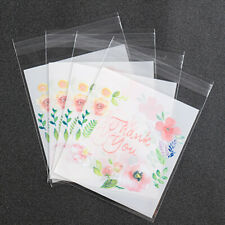 100Pc Plastic Thank You Floral Cookies Package Bags Candy Gift Bag Self-Adhesive