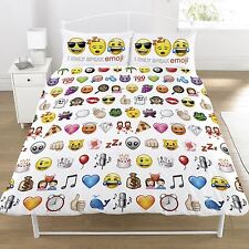 EMOJI SMILEY FACE REVERSIBLE DOUBLE DUVET COVER SET - 100% OFFICIAL NEW