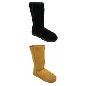Snow Paw Ladies Women Stylish Pull On Black Chestnut Suede Sheepskin Lined Boots