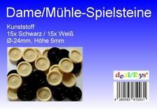 Damesteine, Mühlesteine, Backgammon-Spielsteine, Schwarz/Weiß, 30 Stück
