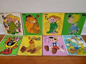 Lot of 8 Playskool Vintage Wooden Puzzles Disney Peanuts Garfield 70's & 80's