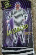 CONVICT PRISONER Jailbird HALLOWEEN COSTUME Size ADULT Mens 180 TO 190 LBS