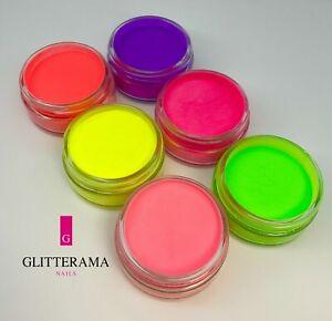 NEONS Glitterama Nails Coloured Acrylic Powder Pink Yellow Orange Blue Purple