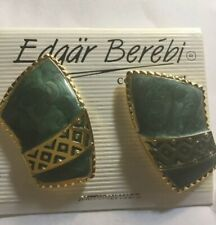 Vtg BEREBI Huge Gold Green Enamel  Designer Earrings