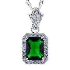 Pendant Emerald Cut Green Emerald 18K White Gold Plated Free Necklace Chain