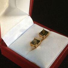 Classic square green peridot 18k yellow gold fill 7mm stud earrings PlumUK BOXED