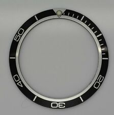 BEZEL INSERT FOR AND FITS OMEGA PLANET OCEAN WATCH BLACK SILVER PART PART