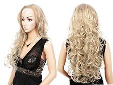 Hellblonde lange gelockte Perücken & Haarteile aus Echthaar-Kunst