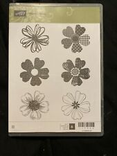 Stampin Up! Cling Red Rubber 'Flower Shop' Stamp Set-includes 6 stamps