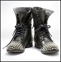 Vintage Womens Punk Leather Rivet Studded Ankle Boots Motorcycle Flats Shoes AU