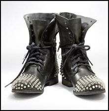 Womens Punk Leather Black Rivet Studded Ankle Boots Motorcycle Flats Shoes SIZE