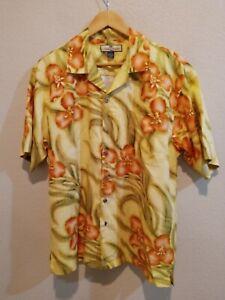 Tommy Bahama Relax 100% Silk Floral Print Hawaiian Camp Shirt Men's M