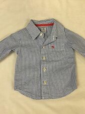 Carter's Baby Boy 3 Month Blue White Stripe  Dress Shirt Top Long Sleeve