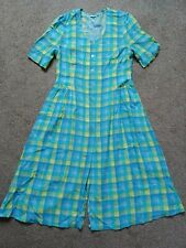 Vintage 40s 50s inspired tea dress blue yellow check size 12 14 great condition