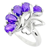 925 Sterling Silver 5.11cts Natural Purple Amethyst Ring Jewelry Size 7.5 P37347