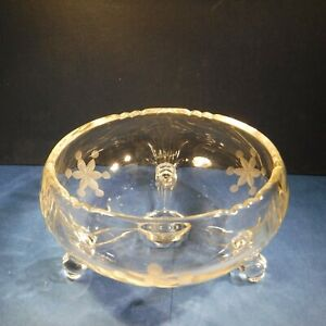 Vintage 3-Footed Etched Snowflakes Glass Candy Dish