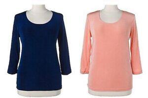 "5.1173 2er-Set: 3/4-Arm-Shirts in Slinky-Qualität ""blau"" Gr. 40/42"