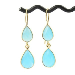 Natural Sky Blue Chalcedony Pear Shape yellow Gold Plated Drop Dangle Earrings