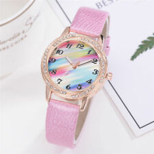 Ladies Fashion Rose Gold & Crystal Rainbow Design Coloured Dial Pink Band.