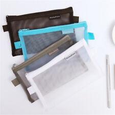 Clear Transparent Students Pen Pencil Case Nylon Fine Mesh Zipper Bags Pouch New