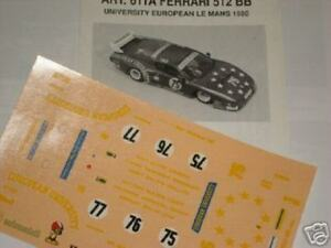 1/43 DECALS DECAL CAR FERRARI 512 BB 24h LE MANS 1980 UNIVERSITY N. 75-76-77