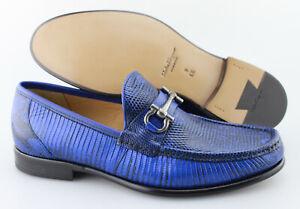 Mens SALVATORE FERRAGAMO 'Mason 3' Royal Blue Lizard Loafers Size US 9 - 2E