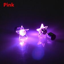 Colorful Star Shape LED Light up Ear Studs Earrings Bling Dance Party Pink