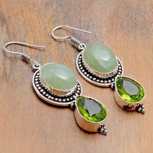 "Prehnite Peridot Handmade Drop Dangle Earrings Jewelry 2.16"" AE 9247"