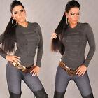 Sexy Femmes Pull tricoté EN LOOK MILITAIRE GRIS Taille 34 36 38 XS S M #110