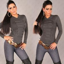 Sexy Damen STRICK PULLOVER Pulli IM MILITARY-LOOK GRAU Gr. 34 36 38 XS S M #110