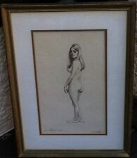 """Female """"Standing Nude"""" study Artist signed, Initialed & Dated 1969"""