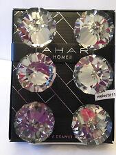 TAHARI Mirrored Crystal ELONGATED Glass Drawer Knobs.  Set of 6. GORGEOUS!