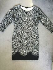 WAREHOUSE -BLACK & CREAM STRAIGHT DRESS IN COTTON/LYCRA WITH 3/4 SLEEVES- 12/14