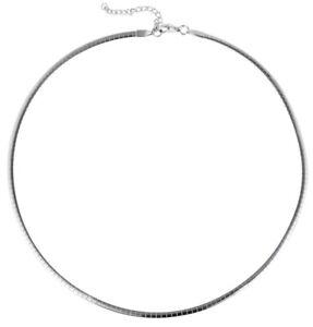 Omega Halsreif Silber Halsreif Damen schmale Halskette Edelstahl 45cm 50cm
