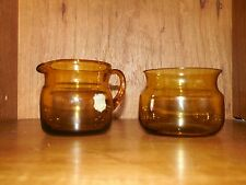 AFORS Sweden Art Glass Creamer and Open Sugar Bowl Brown Glass