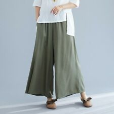 Women's Comfort Loose Fit Wide-leg Pants Summer Autumn Trousers Elastic Waist B