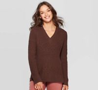 Women's Long Sleeve V-Neck Pullover Sweater - Universal Thread - Brown - M -S220