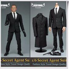 1/6 Men Black Coat White Shirt Agent Suit Clothes Shoes Set For 12'' Figure Body
