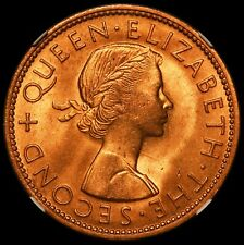 1960 New Zealand One Penny Coin - NGC MS 66 RD - KM# 24.2 - TOP POP-1