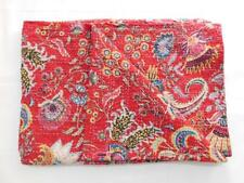 Indian Red Floral Kantha Quilt Reversible Queen Size Bedspread Throw Bed Cover