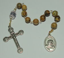 Natural Stone St Padre Pio Single Decade Rosary - 20th Century Miracle Worker!