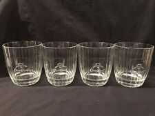 CROWN ROYAL CANADIAN WHISKY VINTAGE EMBOSSED ROCKS GLASSES ETCHED LOGO SET OF 4