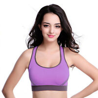 Women Yoga Padded Sports Bra Fitness Stretch Workout Tank Top Seamless Racerback
