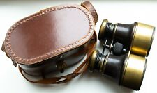 More details for rare ww1 era vintage leather covered brass binoculars made in paris france