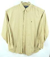 Ralph Lauren Blake Mens Long Sleeve Button Down Shirt  SIZE XL Gold/Yellow Plaid