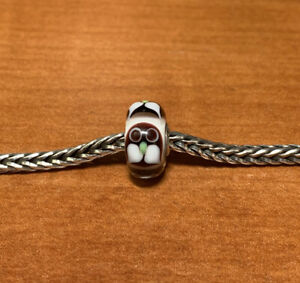 Authentic Trollbeads CC Unique OOAK Bead Brown Owl  On White Base Brand NEW!