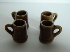 (KP2.9) 1/12th scale DOLLS HOUSE 4 X SMALL STONE TANKARDS